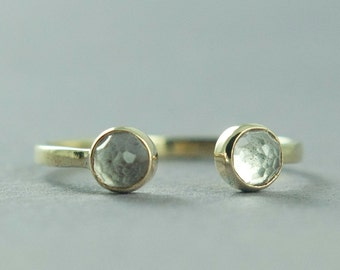 Rose Cut White Topaz Ring, Solid Gold Ring, Cuff Ring, Delicate Jewelry, Made to Order, Free Courier Shipping