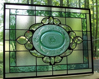 Stained glass panel Sea Green Tiara with clear bevels