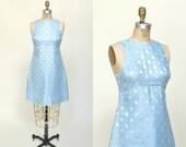 20% OFF 1960s Ice Blue Mini Dress --- Vintage Cocktail Dress