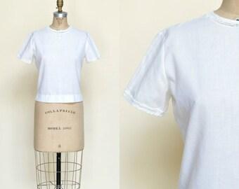 30% OFF Vintage Cotton Blouse --- 1950s White Top