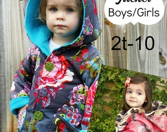 SALE Hooded Jacket Boys Girls Whimsy Couture Sewing Pattern Tutorial PDF ebook (reversible) 2t - 10 Instant