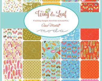 "SQ148 Moda WING & LEAF Precut 5"" Charm Pack Fabric Quilting Cotton Squares Gina Martin 100600PP"