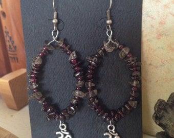 Chakra Om Labadorite and Garnet Earrings