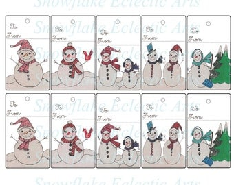 Instant Download - Christmas Gift TAGS - Cute Simple Set Of 10 Assorted Snow People Snowmen Snow Woman Snowman - White Background