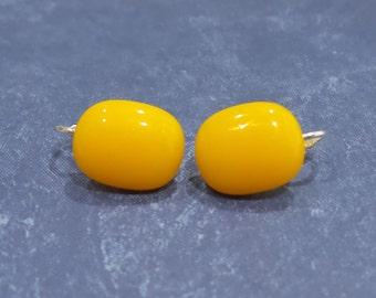 Clip-on Earrings, Light Orange Post Clip On Earrings, Non Pierced Earings, Orange Jewelry - Goldy --6