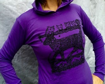 Purple Cats Hoodie Girls Feline Long Sleeved Stretchy Cotton Medieval Merlin Womens Made in USA Sm & XL Only