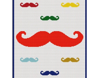 INSTANT DOWNLOAD Mustache with Mini Mustaches Crochet Scraps Cross Stitch Knit Pattern Graph .PDF