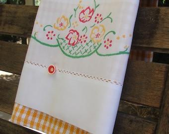 Vintage Recycled Pillowcase to Upcycled Basket Full of  Posies Tea Towel Retro Kitchen Trailer Kitchen Decor Flowers Orange & White Check