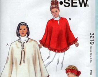 No Sewing Required Sewing Pattern Poncho and Headband Girls and Women Kwik Sew 3219