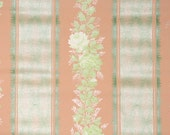 1920s Vintage Wallpaper by the Yard - Green Rose Stripe