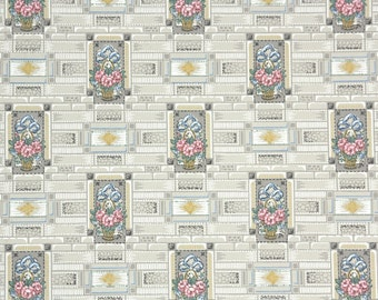 1920s Vintage Wallpaper by the Yard - Antique Floral Pink and Blue Flowers Gray Geometric Tiles