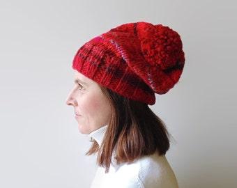 Pom Pom Red Beanie, Chunky Knit Beanie Hat, Hand Knit Womens Beanies, One of a Kind, Pom Pom Stocking Hat, Wool Knit Slouchy Beanie, Unisex