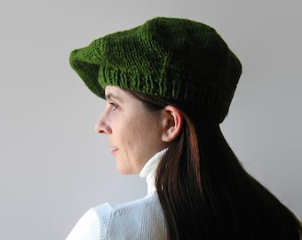Green Wool French Beret, Tam O Shanter, Womens Hat, Hand Knit Hat, Chunky Knit Hat, Winter Hat, Slouchy Hat, Green Hat, Beret Hat, Wool Hat