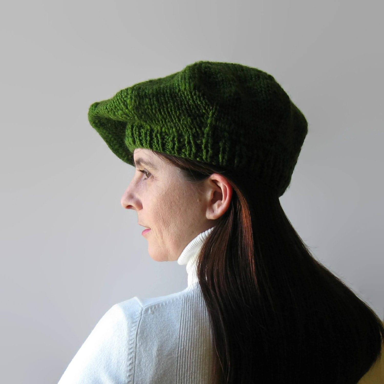 green wool beret tam o shanter womens hat knit