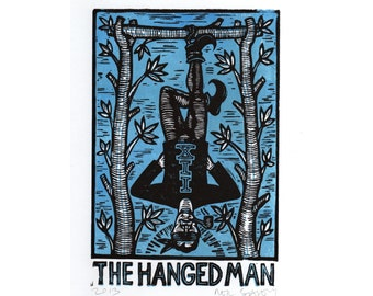 Hanged Man Tarot Card Linocut Art Print - Original Linocut Art by Horse and Hare - Hanged Man Tarot Handmade Hand Pressed Print - Goth Art