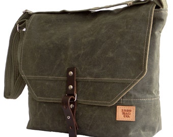 Mens Messenger Bag Waxed Canvas Green & Leather Field Bag