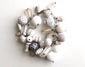 White Clay beaded bracelet, sampler, handmade, charm bracelet, earthy