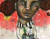 RESERVED. Nurture, Mixed Media Folk Art Painting, Payment 2