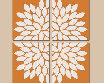 Orange Wall Art, CANVAS or Prints Bedroom Pictures, Orange Bathroom Artwork, Flower Burst Wall Art, Dahlia Petals Set of 4 KITCHEN Decor