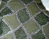 FlASH SALE Baby Boy Rag Quilt, Quilted Blanket, Nursery Bedding, Flannel Stars & Homespun Checks