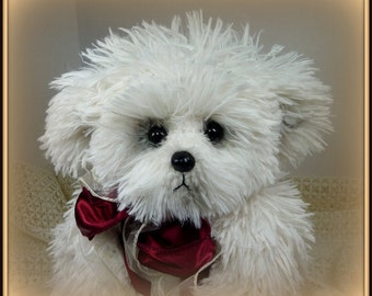 Trinity – Artist Teddy Bear, Handmade, Stuffed Animal, Non-Jointed, Shaggy, White, Toy, OOAK, Made In Alaska, 14 Inches