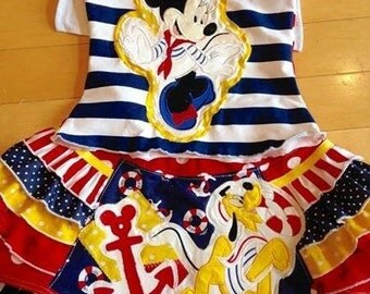 MINNIE pluto cruise skirt set custom 2t-8/10 nautical sailor