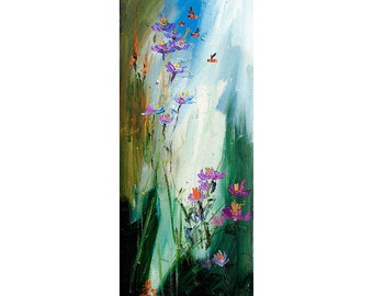 "Wildflowers and Bees Tall Oil Painting Original by Ginette ""SALE"""
