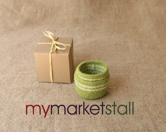 Granny Smith Felted Wool Striped Nesting Bowls  Ready to Ship