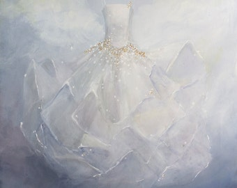 Ballet Tutu painting original ooak ballet  fantasy costume Cloud Ballerina fashion art Dancing With The Stars