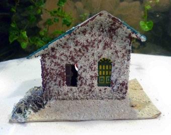 Vintage Cardboard Putz Glitter Snow Slant House Japan Christmas Holiday