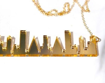 Gold Skyline Necklace Laser Cut Acrylic New York Skyline Necklace in Gold Mirror Perspex on Gold Plated Chain