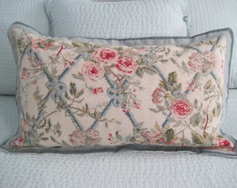 King Sized Needlepoint Pillow Sham Roses Pinks, Blues Greens One of a Kind