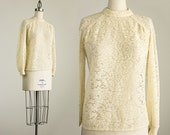 70s Vintage Cream Lace Open Knit Crochet Sweater / Size Small / Medium