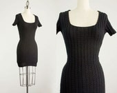 90s Vintage Bebe Black Cable Knit Body Con Cotton Mini Dress / Size Medium