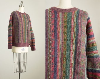 90s Vintage Norm Thompson Multicolor Wool Sweater / Size Medium