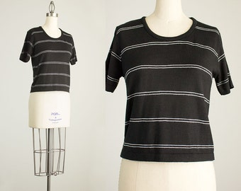 90s Vintage Black And White Striped Sweater Knit Top / Size Small / Medium