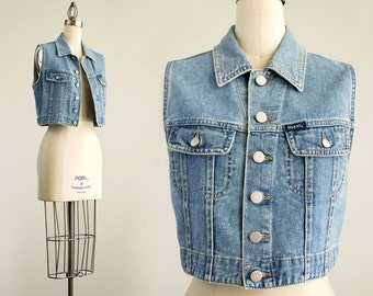 Vintage 90s Guess Cropped Blue Denim Button Up Fitted Vest Top / Size Small / Medium
