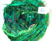 Sari Silk Ribbon, Recycled Silk Sari Ribbon, Green Fuzzy ribbon, multicolor ribbon, washed ribbon