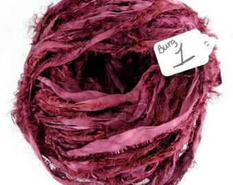 Sari silk ribbon, Recycled Silk Sari Ribbon, Burgundy sari ribbon, Fuzzy ribbon