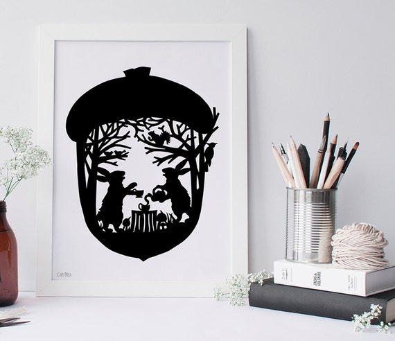 Silhouette Rabbits Nutty Tea Party Paper Cut Art Hare and Rabbit Woodland Wonderland Silhouette Art