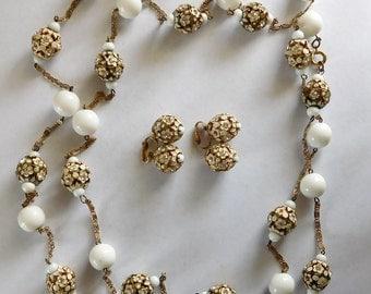Vintage Vogue Porcelain Enamel Rhinestone Necklace & Earring Jewelry Set WOW