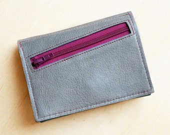 Womens Leather Wallet / Wallet with Coin Pocket / Personalized Leather Wallet / Leather Trifold Wallet - The Frances Wallet in Granite Grey