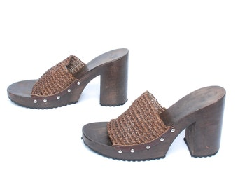 size 9 PLATFORM brown woven leather 80s 90s CHUNKY slip on SANDALS