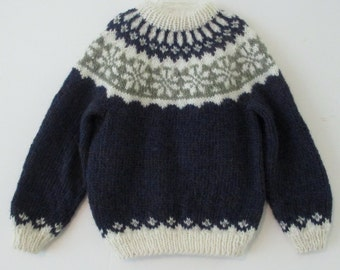 Childs Icelandic Sweater, size 8 10, handknit from navy, cream and sage wool