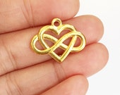 6 pcs of gold plated heart charm 20x25mm, gold heart pendant, gold infinity heart pendant