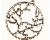 6 pcs of Antique Silver finished Tree of life pendant 40mm