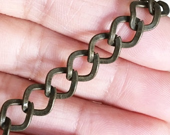 5 ft  Antique Brass chain antique brass finished iron twisted oval chain 10X8mm - unsoldered