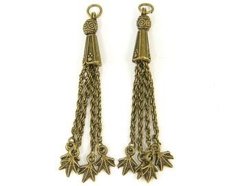 2 Pcs Antique Brass Chain Tassel Earring Findings Fringe Tribal Bead Dangle Leaf Charm Jewelry Component  AN2-17 2