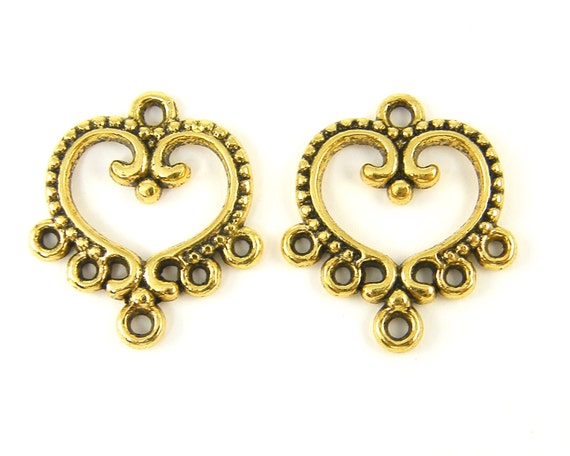 Chandelier earring parts thebeaddreamer 8 pcs chandelier earring components antique gold heart earring connectors jewelry findings g3 14 mozeypictures Gallery