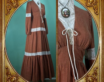 70s rust brown Victorian prairie corset maxi dress